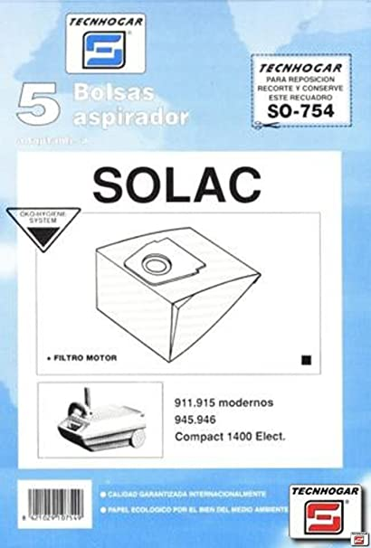 Tecnhogar - Bolsa Aspirador Solac 911 5P. 754: Amazon.es ...
