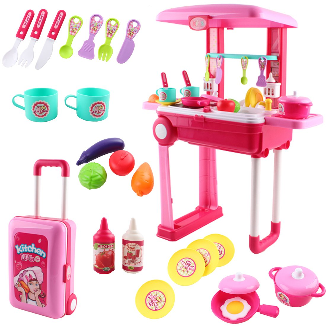 deAO SC-KP 2-in-1 Portable 'My Little Chef' Kitchen Suitcase Play Set with Sound, Lights and Accessories Included (Pink), 3-5 Years by deAO