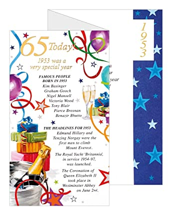 Simon Elvin 2018 65th Male Birthday Card 1953 Was A Special Year