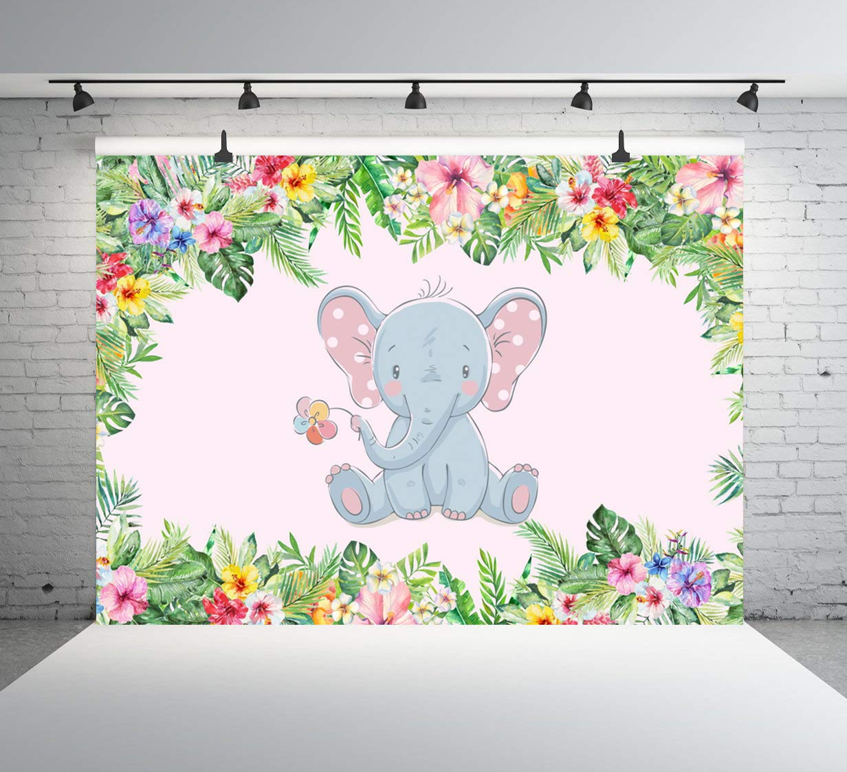 Elephant Backdrop Animal Safari Cartoon Forest Photography Backgrounds Green Jungle Leaves Photo for Newborn Boy Child Portraits Baby Shower Party Photo Booth Studio Backdrop 10x7FT E00T10336