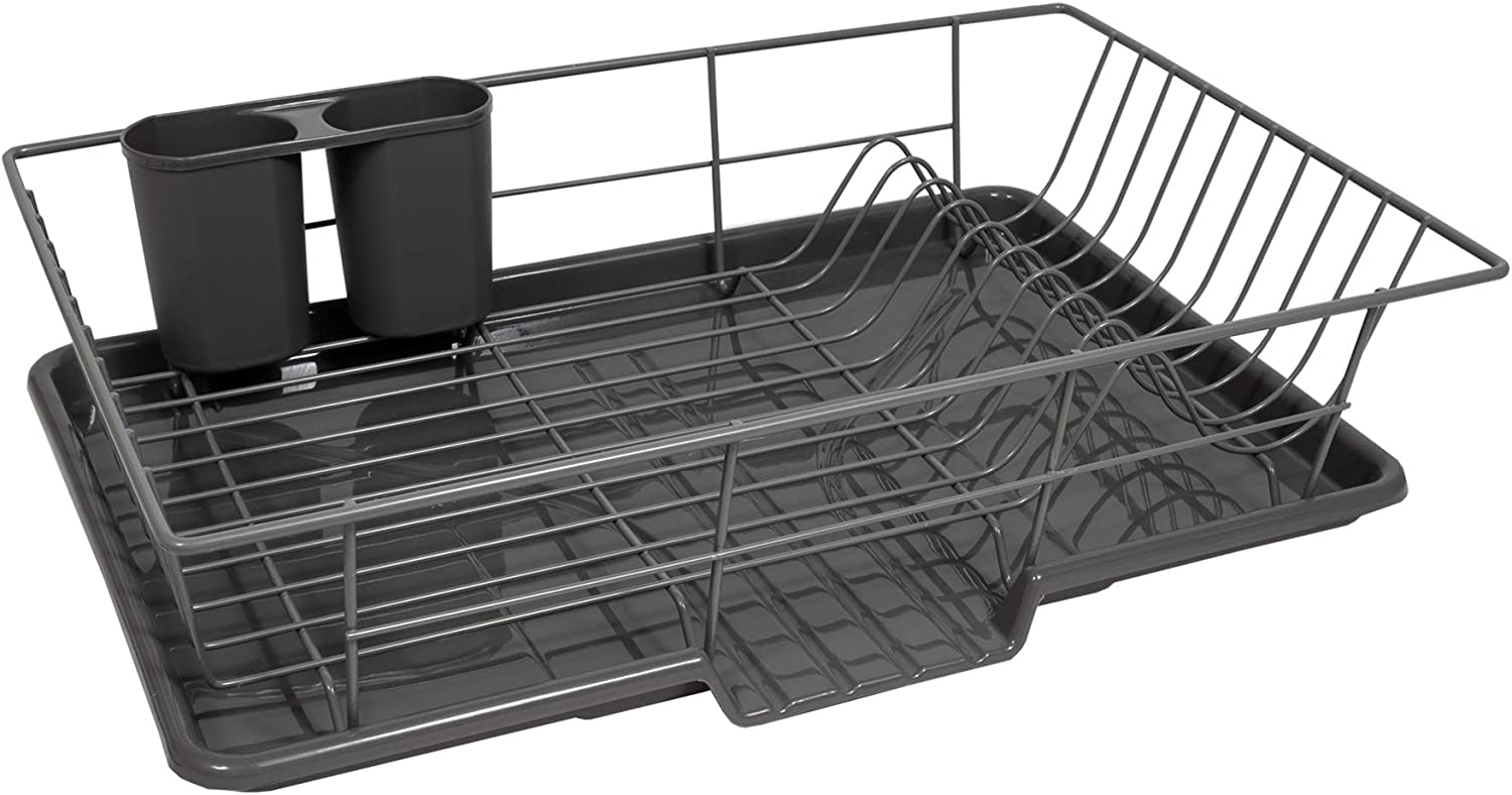 "Sweet Home Collection 3 Piece Dish Drainer Rack Set with Drying Board and Utensil Holder, 12"" x 19"" x 5"", Gray"