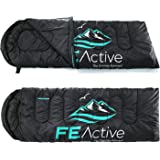 "FE Active - Sleeping Bag 3-4 Seasons with Hood, Extra Long 90"" x 31"", Water Resistant Sleeping Bag for Outdoors, Camping, Backpacking, Hiking, Trekking 