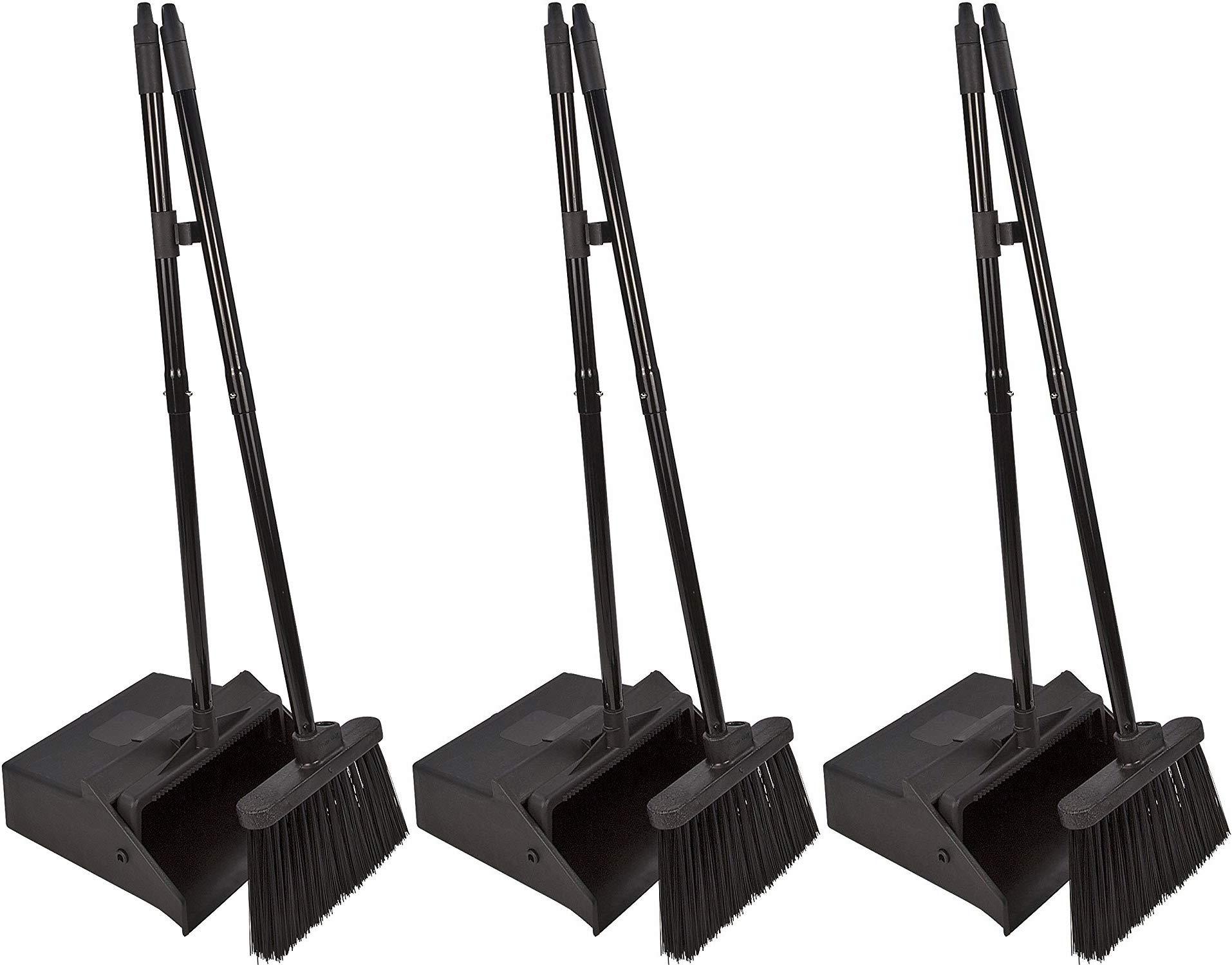 Carlisle 36141503 Duo-Pan Dustpan & Lobby Broom Combo, 3 Foot Overall Height, Black - 3 Pack