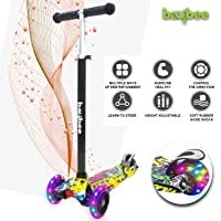 Baybee Mini-Zapper 3 Wheel Folding Kick Kids Scooty Scooter Tricycle for Indoor & Outdoor Fun with Brake-LED Skate Scooter for Kids with Adjustable Height Age 2-9 Years-Capacity 50 kg (Yellow)
