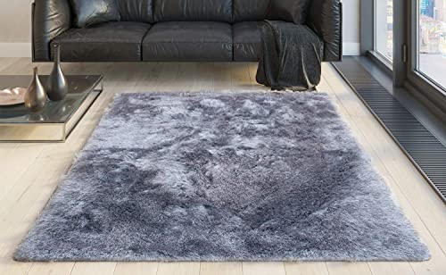 8×10 Feet Light Gray Light Grey Silver Color Shimmer Area Rug Carpet Rug Solid Soft Plush Pile Shag Bedroom Living Room Hand Woven Shaggy Fuzzy Furry Modern Contemporary Decorative