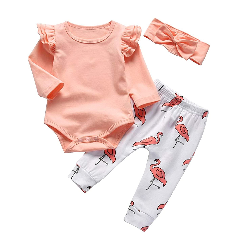797b5d316ee Amazon.com  3Pcs Baby Girl Pink Ruffle Romper Long Sleeve Bodysuit Tops  Flamingo Pants and Headband Outfits Set  Clothing