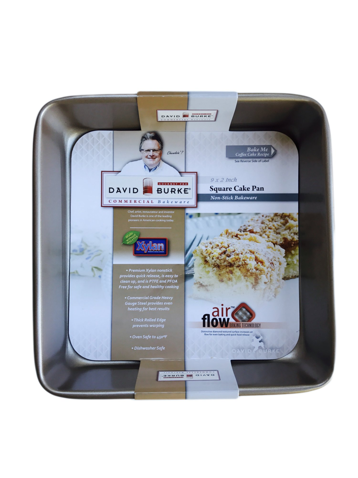 David Burke Kitchen Commerical Weight Bronze Square Cake Pan 9 x 9 x 2 Inches