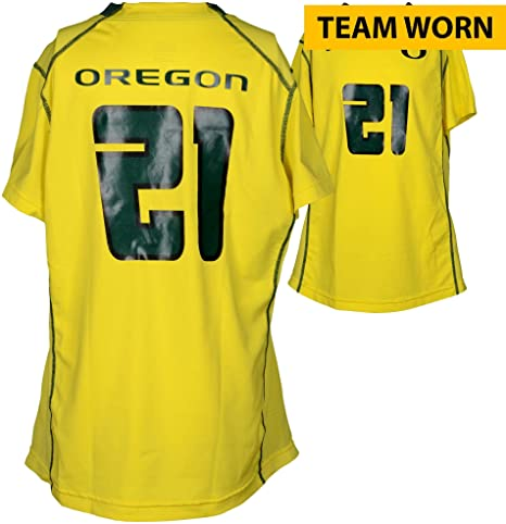 new arrival 38530 f1296 Oregon Ducks Team-Worn #21 Yellow And Green Jersey Used ...