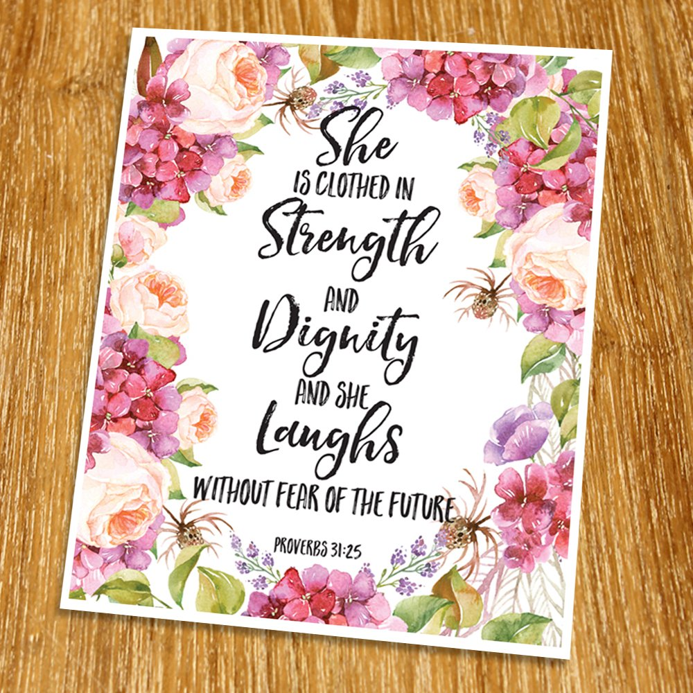 Proverbs 31:25 She is clothed in strength and dignity Print (Unframed), Baby Shower Gift, Nursery Print, Watercolor, Scripture Print, Bible Verse Print, Christian Wall Decor, 8x10'', TC-074
