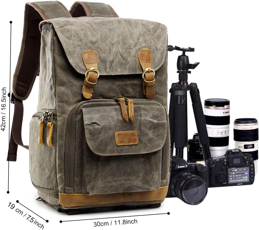S-ZONE Waterproof Canvas Camera Backpack Case Bag Men Women14 inch Laptop Tripod