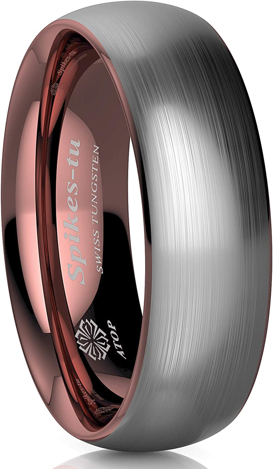 Silver Brushed Rose Gold Dome Tungsten Womens Wedding Band Ring