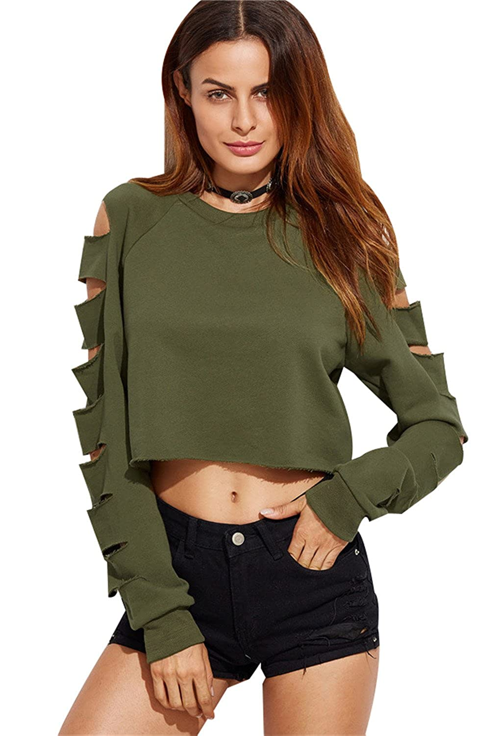 6a1cbc2f Top1: Arctic Cubic Sexy Cold Open Shoulder Distressed Ladder Cut Out Hole  Holes Cropped Crop Sweatshirt T-Shirt Boxy Top