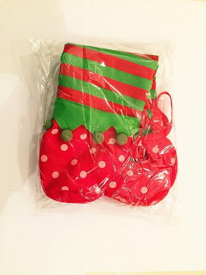 Duende de la Navidad Candy bolsa sancc elfo botas calcetines calcetín de Papá Noel Candy calcetines Elf para botellas decoración rojo para botella de vino ...