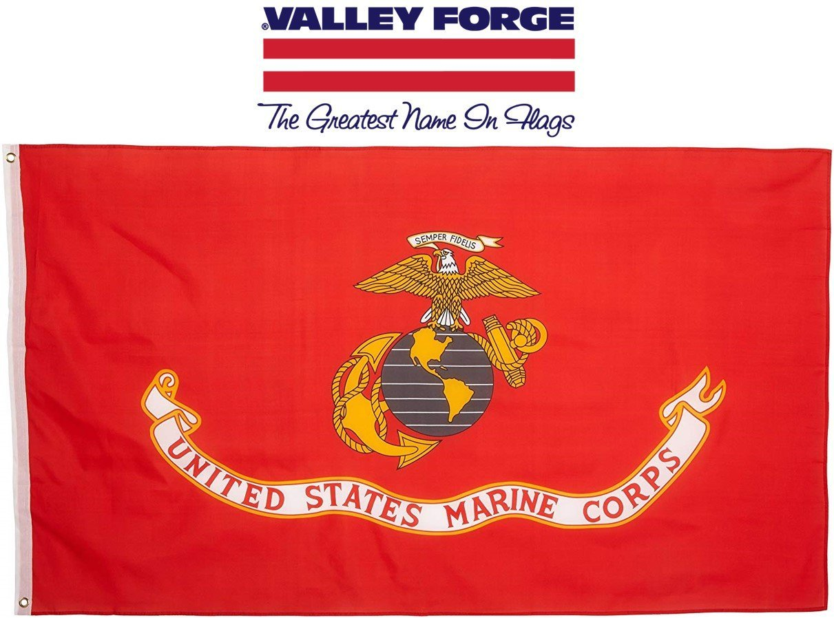 Valley Forge Flag 4-Foot by 6-Foot Nylon Marine Corps Flag with Canvas Header and Grommets by Valley Forge