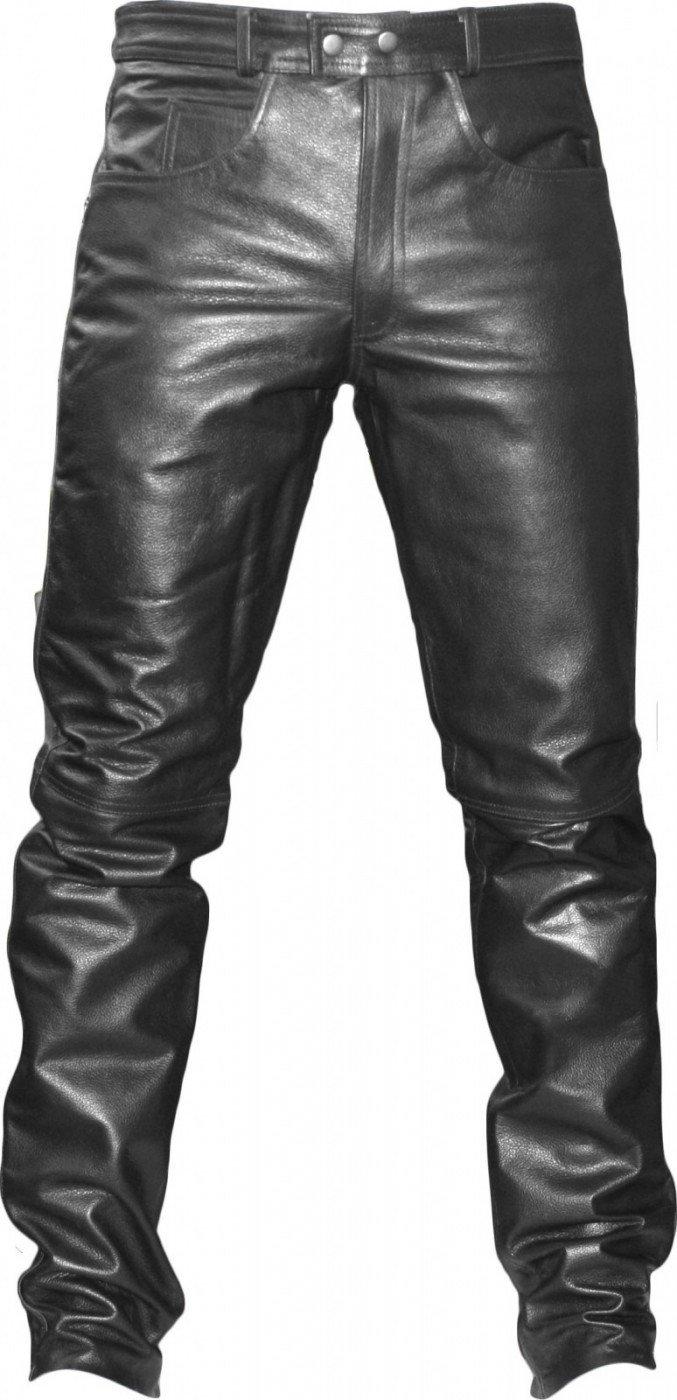 Gr/ö/ße:58 German Wear Lederhose lederjeans bikerjeans jeans hose aus B/üffelleder Schwarz