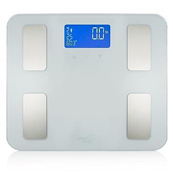 Smart Weigh Balanza de Precisión con Cristal Templado para Pesar, Báscula Digital de Baño, Ocho Usuarios y Capacidad de 200 kg, Mide Peso, Grasa del ...