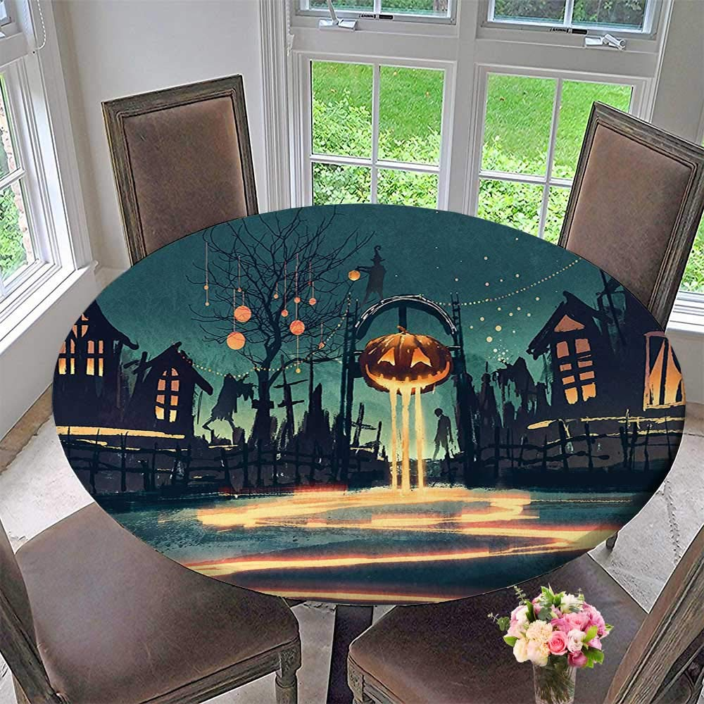 Mikihome simple modern round table cloth house decor halloween theme night pumpkin and haunted house ghost town artful teal for daily use wedding