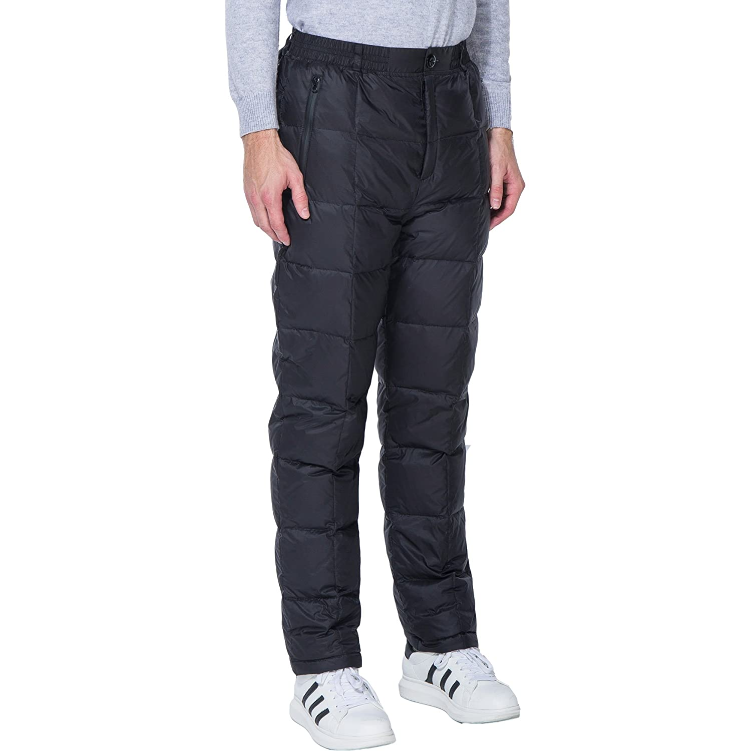 PANLTCY Mens Winter Warm Utility Down Pants Sassy High Waisted Nylon Compression Snow Trousers