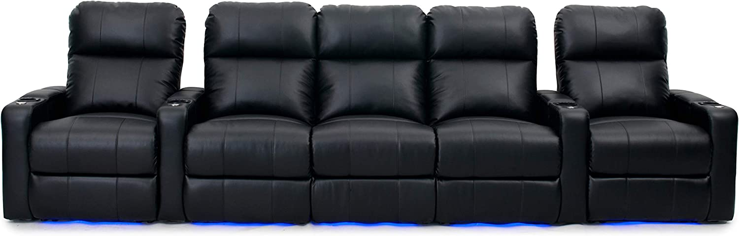 HT Design Easthampton Home Theater Seating Row of 5 Center Sofa Power Recline Black with LED Cupholders Base Lighting