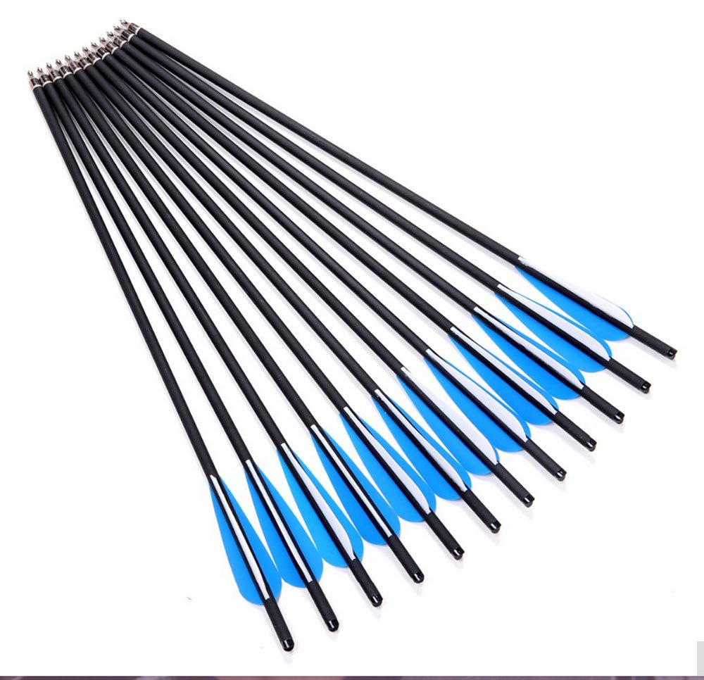 Marksmen Thunderbolt Carbon Crossbow 20-Inch Arrows with Field Points (12 Pack, Dozen)