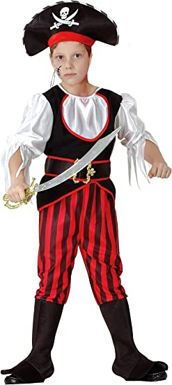 Capitán Pirata – Piratas Disfraz infantil niño rojo de Negro de ...