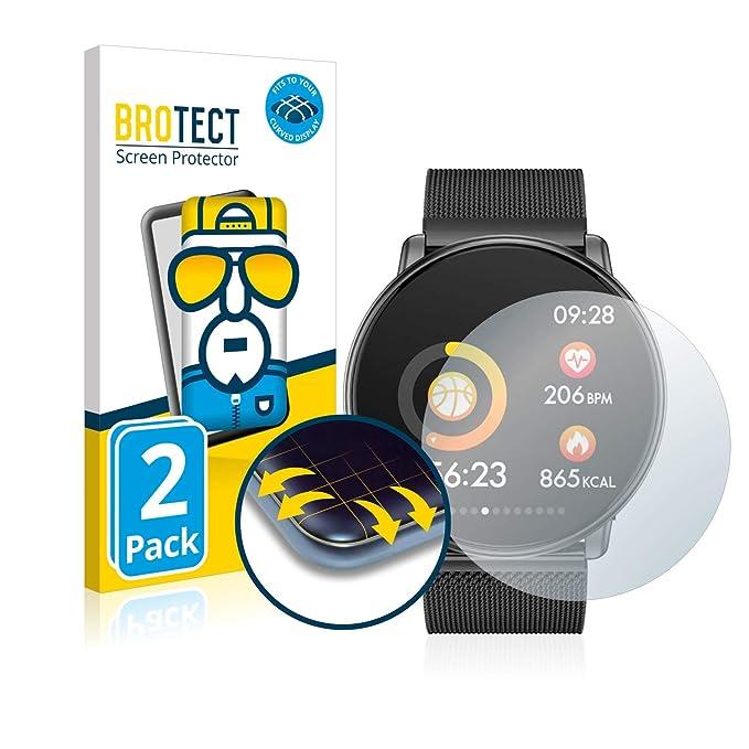 brotect Protector Pantalla Completa Compatible con Azorex Smartwatch Q88 (2 Unidades) 3D Curvo