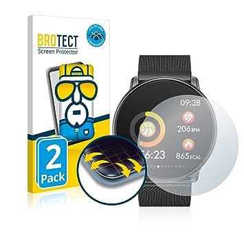 BROTECT Protector Pantalla Completa Compatible con Azorex Smartwatch Q88 (2 Unidades) - Cobertura Curvo