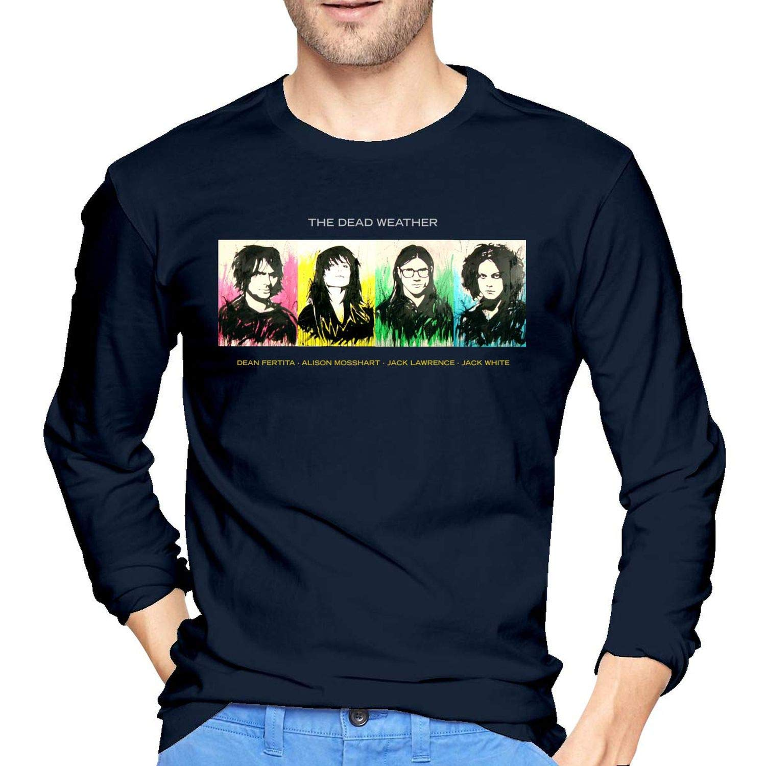 Dead Weather/ Men 100/% Cotton Long Sleeve Round Collar Fashion T-Shirts