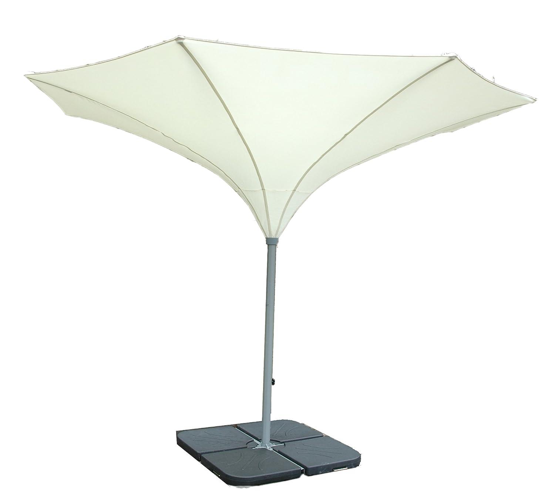 400 cm Ø - SKYLINE TROMPETENFORM UMBRELLA - KURBEL - SONNENSCHIRM - mit ERDROHR und mit KURBEL abnehmbar - ZANGENBERG - GERMANY - RUND - 400 cm - 8 teilig - Farbe : WEISS - Holly ® Produkte STABIELO ® - holly-sunshade ®