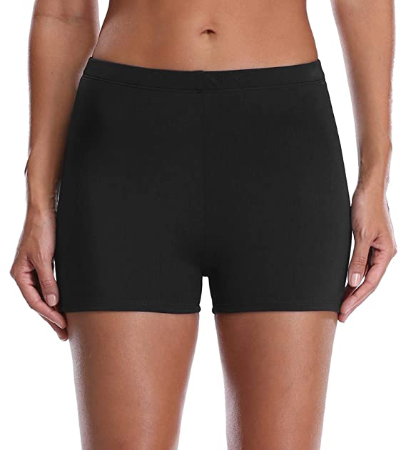 2b65364022 Anwell Women's Retro Swim Boardshorts Beach Solid Bikini Bottoms Black 8