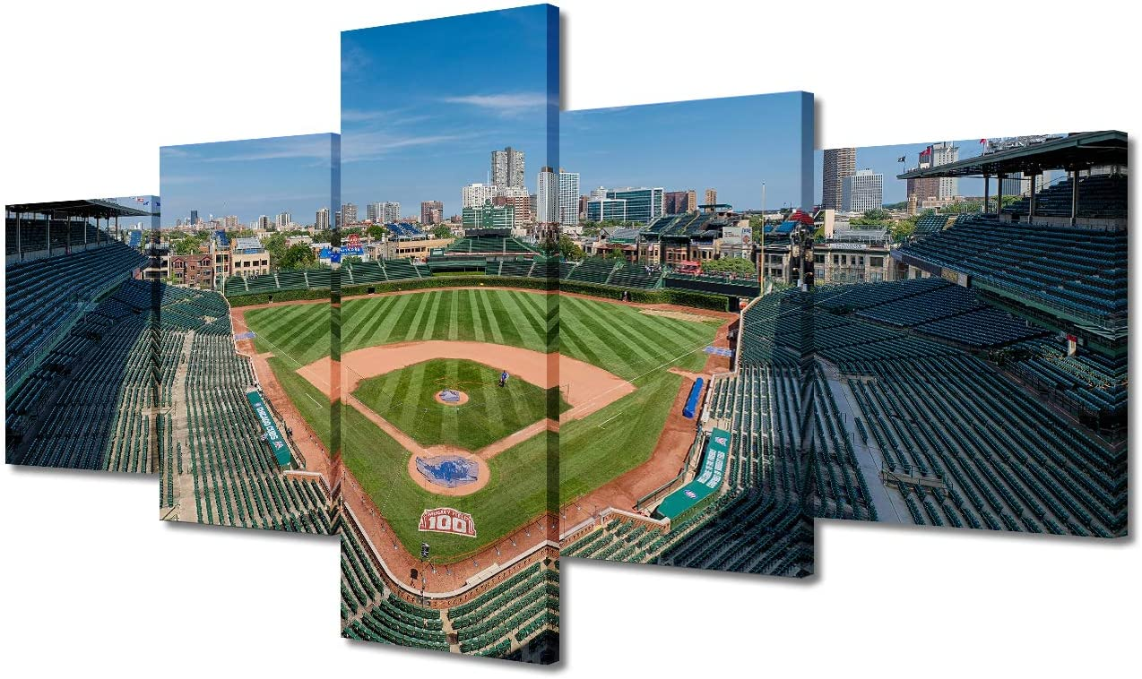 MLB Baseball Stadium Decor Pictures - Empty Wrigley Field, 5 Panels Chicago Cubs Ballpark Skyline Panoramic Photographic Print on Canvas for Modern Home Stretched and Frame Ready to Hang(50