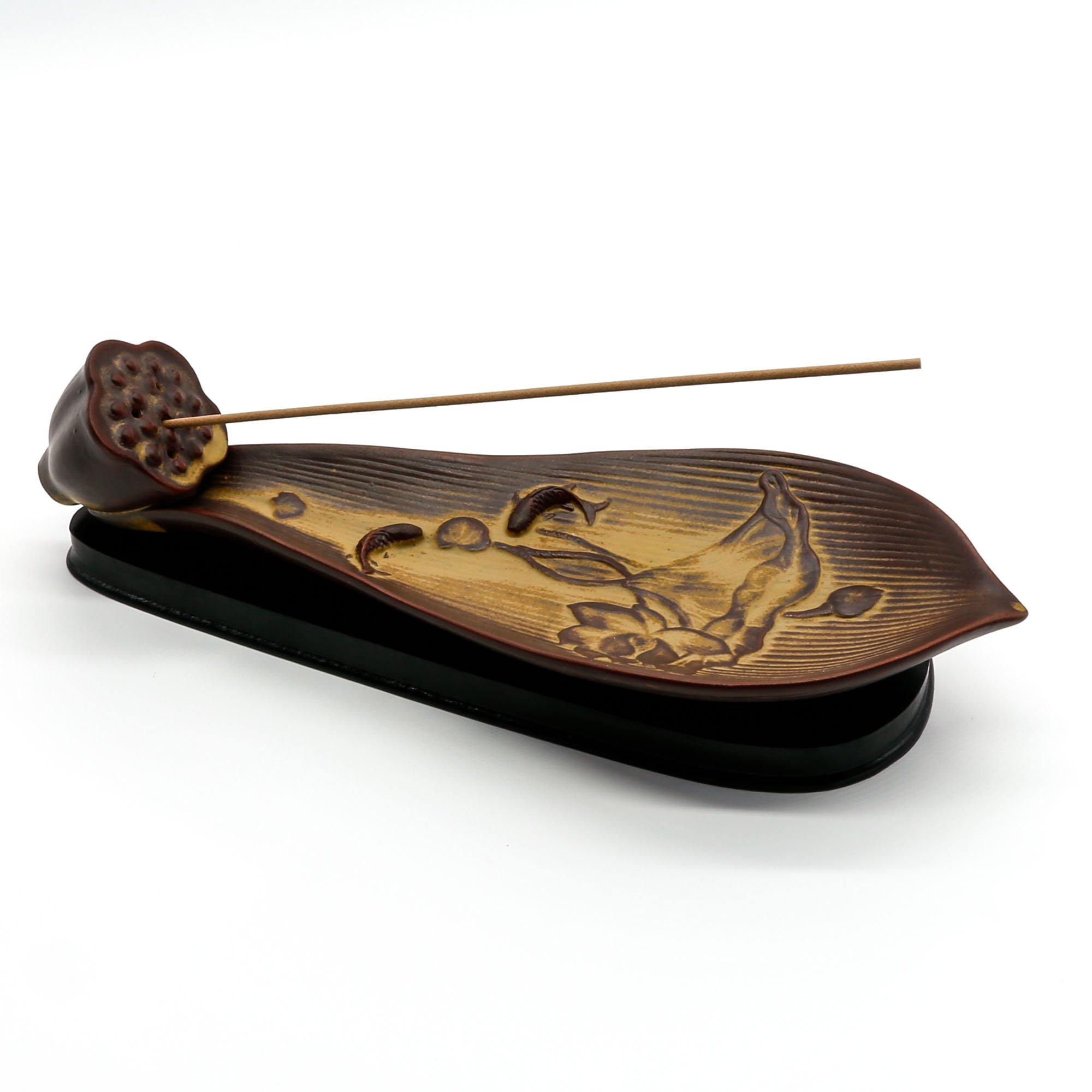 Omonic Vintage Ceramic Lotus Leaf Incense Burner Incense Stick Holder Cone Ash Catcher Tray with Stable Base Aromatherapy Furnace Diffuser Home Decor