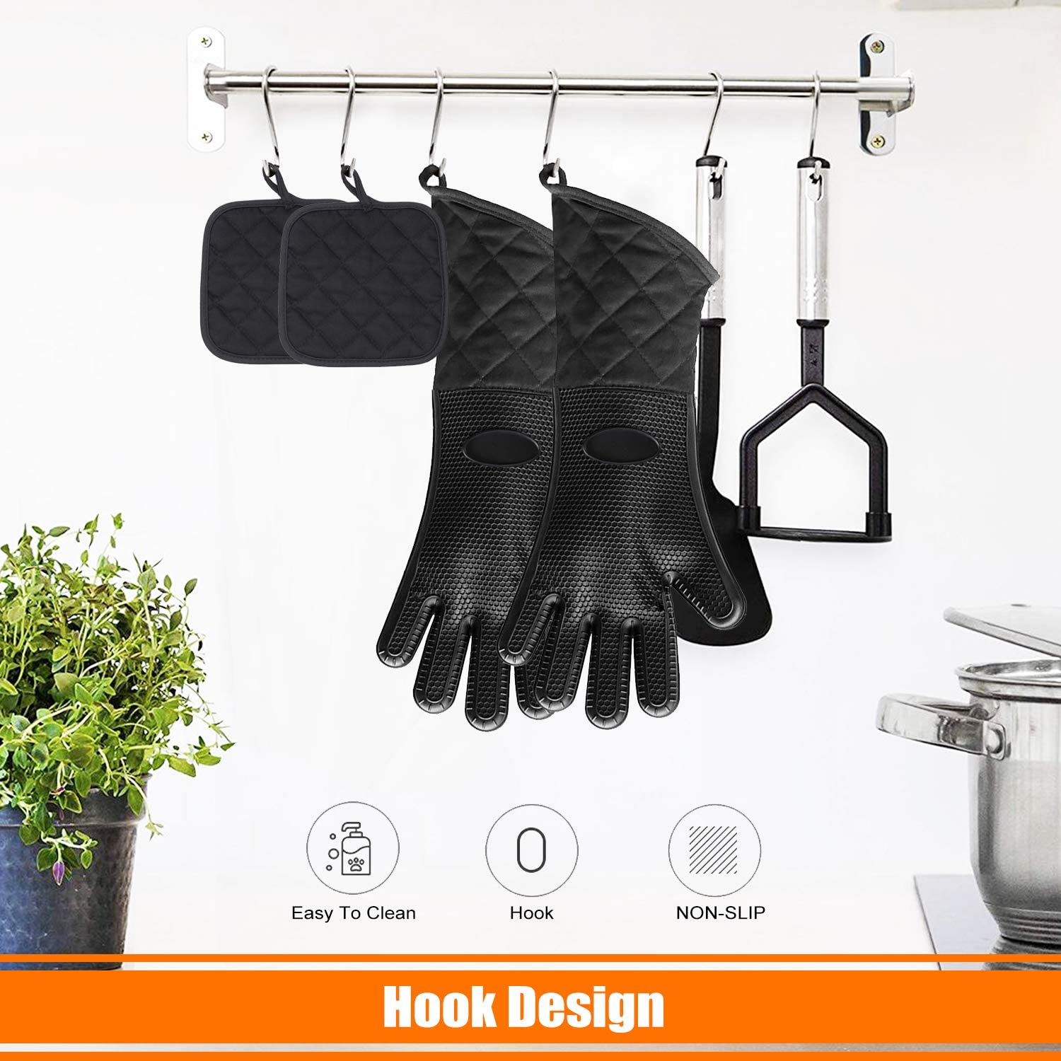 Cooking Suitable for Barbecue Baking selizwold Extra Long Barbecue Gloves with Pot Holder Waterproof Non-Slip Silicone Heat-Resistant Gloves 4-Piece Oven Glove Set