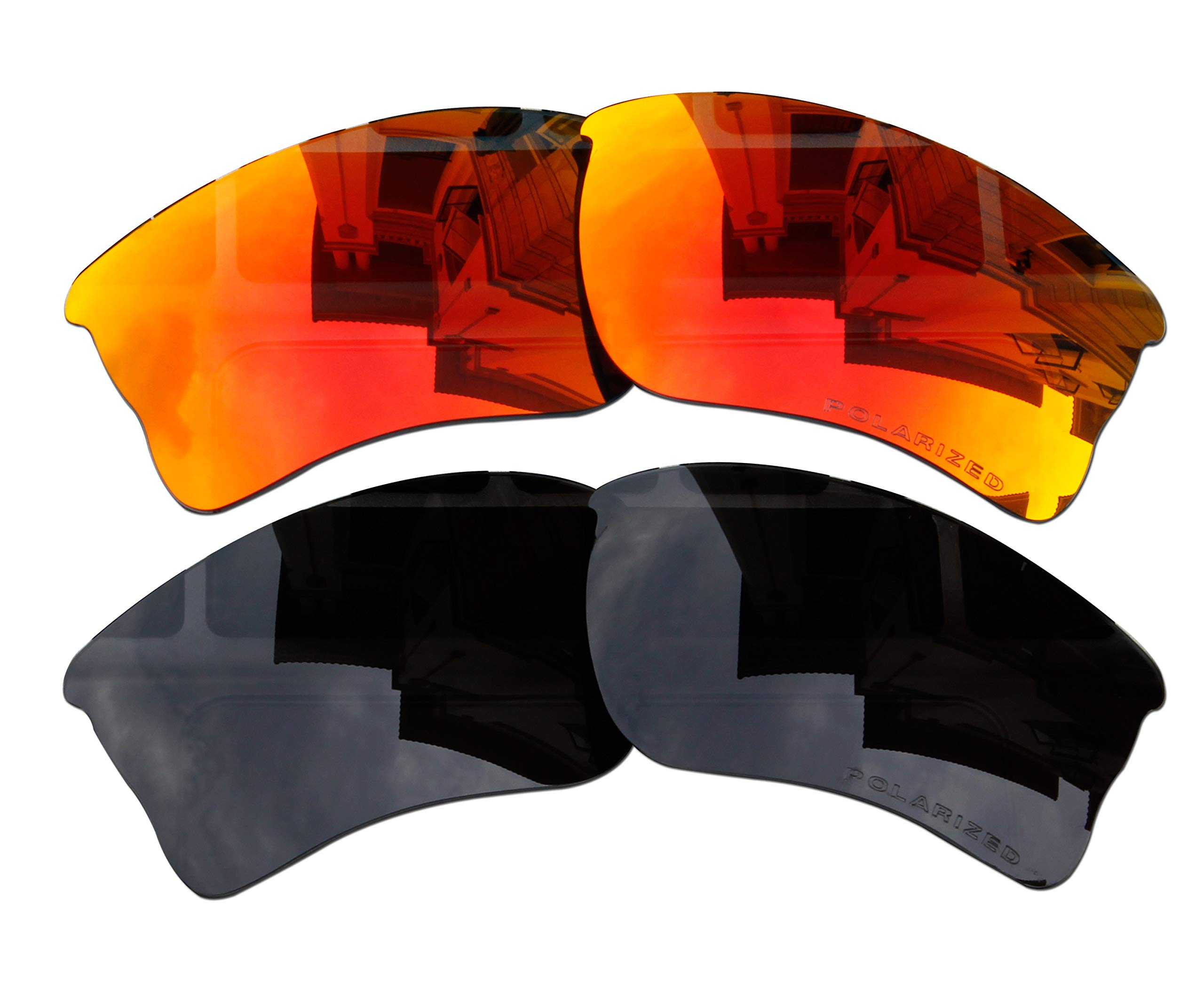 2 Pairs Polarized Lenses Replacement Red & Black for Oakley Quarter Jacket Sunglasses by BVANQ