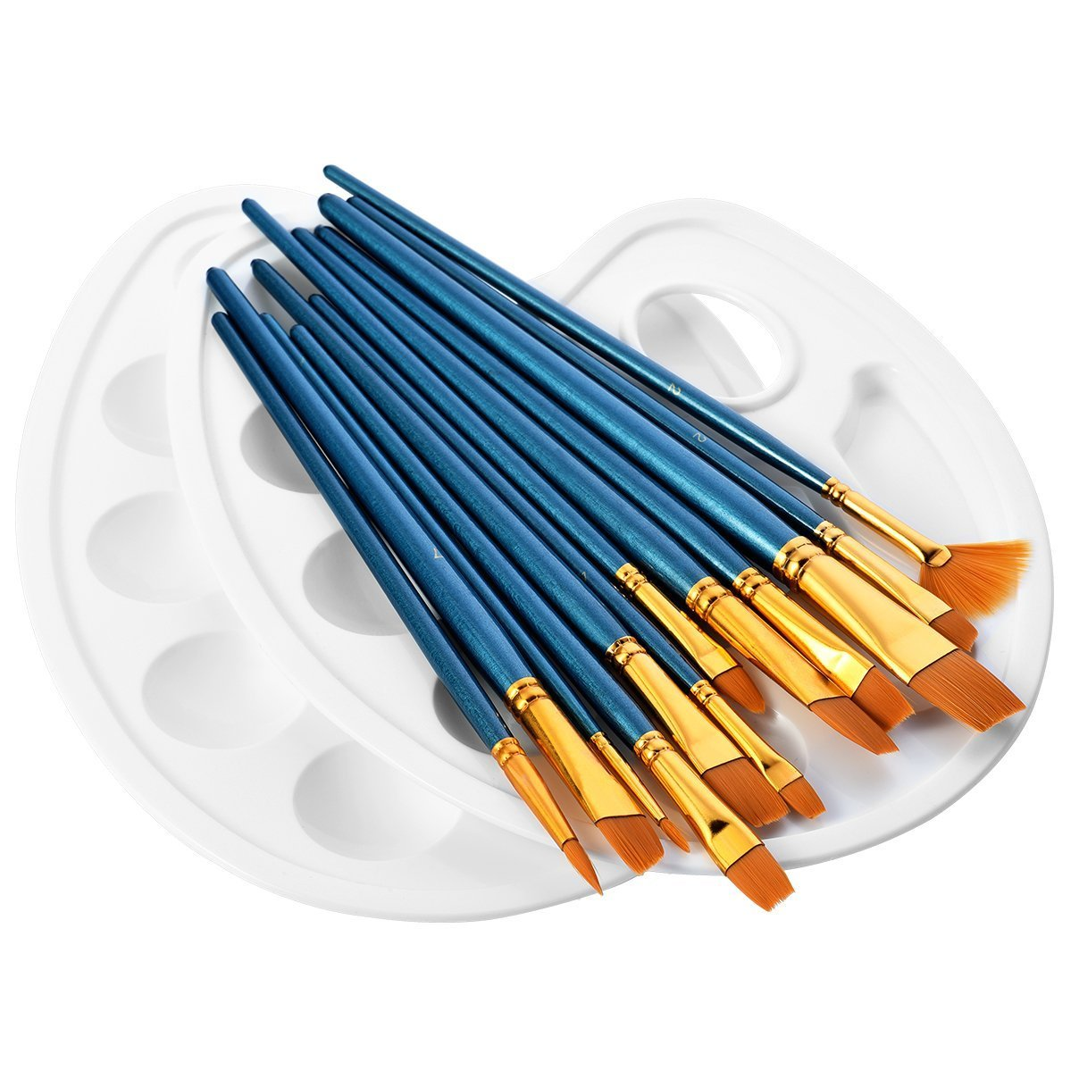 Morkia Paint Brushes, 12 Pieces Art Nylon Painting Brush Set and 2pcs Paint Tray Palettefor Watercolor, Oil and Acrylic Painting 4336957135