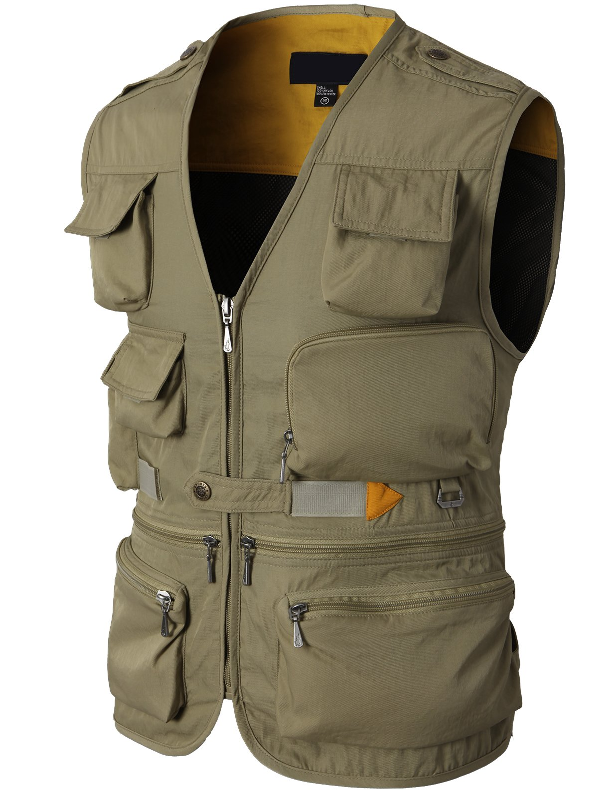 H2H Mens Fashion Work Utility Hunting Travels Sports Vest with Multiple Pockets Beige US L/Asia XL (KMOV0116)