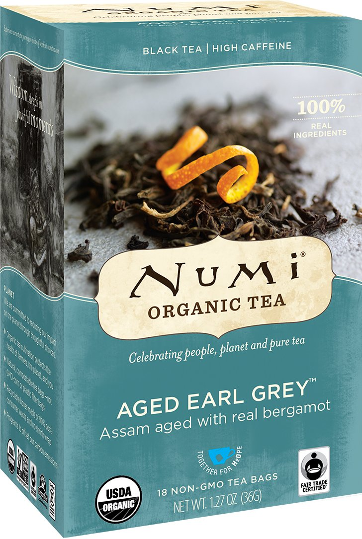 Numi Organic Tea Aged Earl Grey, (Pack of 3 Boxes) 18 Bags Per Box, Organic Black Tea Naturally Aged with Italian Bergamot to Absorb the Flavor, Non-GMO Biodegradable Bags, Premium Bagged Tea