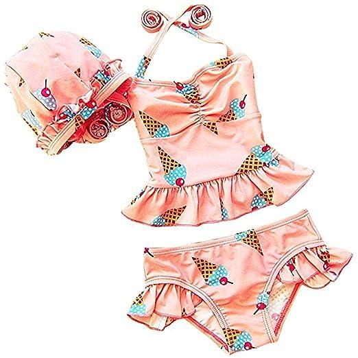 0f97542d9c Amazon.com: Toddler Girl Bikini Swimsuit Set Kid Baby 3 Pcs Swimwear ...