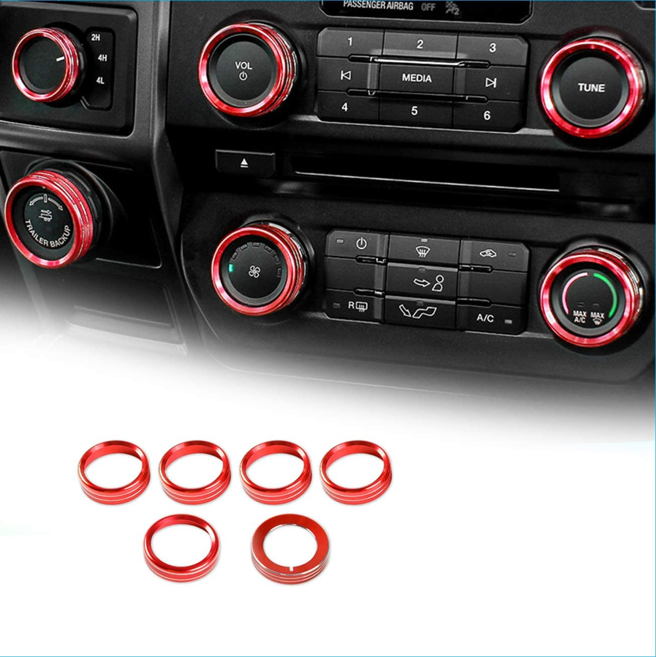 6pcs Air Conditioner Switch Knob Ring Button Cover Trim