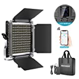 Neewer 528 LED Video Light, Dimmable Bi-Color Photography Lighting Kit with APP Intelligent Control System, Professional for YouTube Studio Outdoor Video Lighting with LCD Screen, 3200K-5600K Metal (Tamaño: APP Control 528 LEDs)