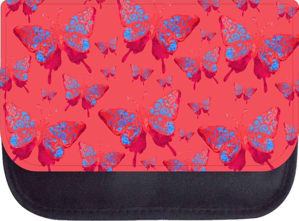 Pink and Blue Grunge Butterflies Print Design Backpack and Pencil Case Set