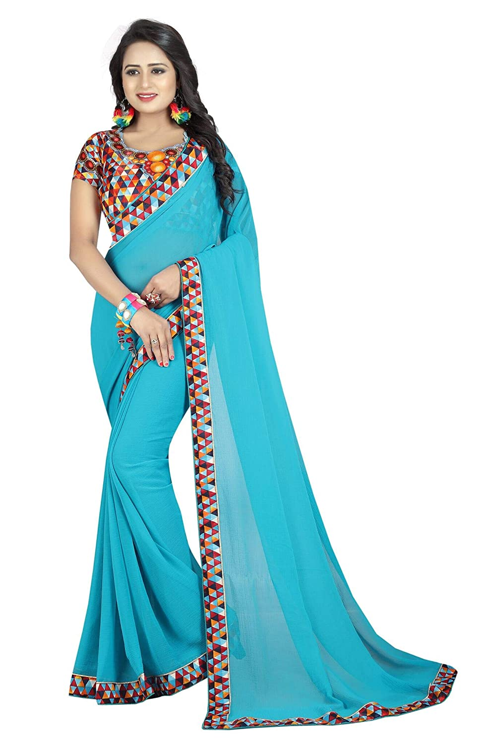 Shonaya Women`S Turquoise Colour Georgette Printed Saree with Unstitched Blouse Piece LALITHA-FIROZY