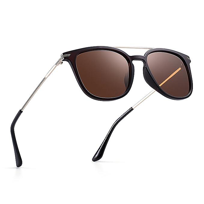 Polarizadas Espejo Gafas de Sol Plano Top Cuadrado Aviador Sombra Anteojos Lentes Hombre Mujer(Marrón
