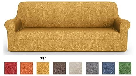PETTI Artigiani Italiani – Fundas Sofa, Fundas de Sofa, Funda Sofa 4 Plazas, Oro, Fundas Sofa Elasticas, Tejido Jacquard, 100% Made in Italy