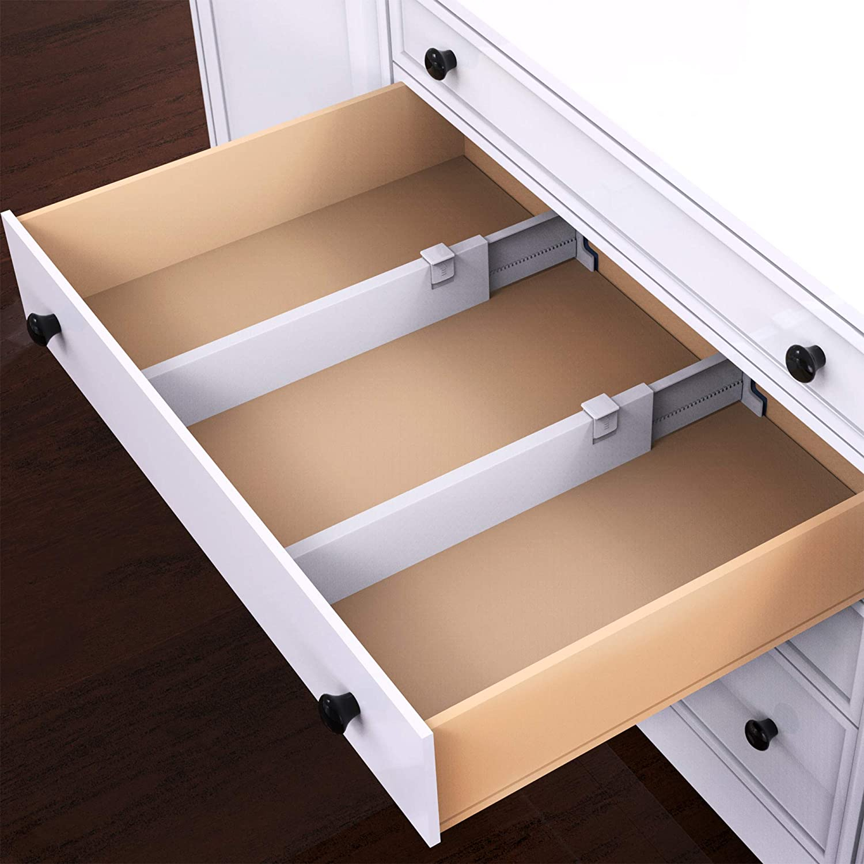 Lavish Home Expandable Drawer Divider and Organizer – Set of 2 Adjustable Household Separators for Kitchen, Dresser, Bedroom, Bathroom and More