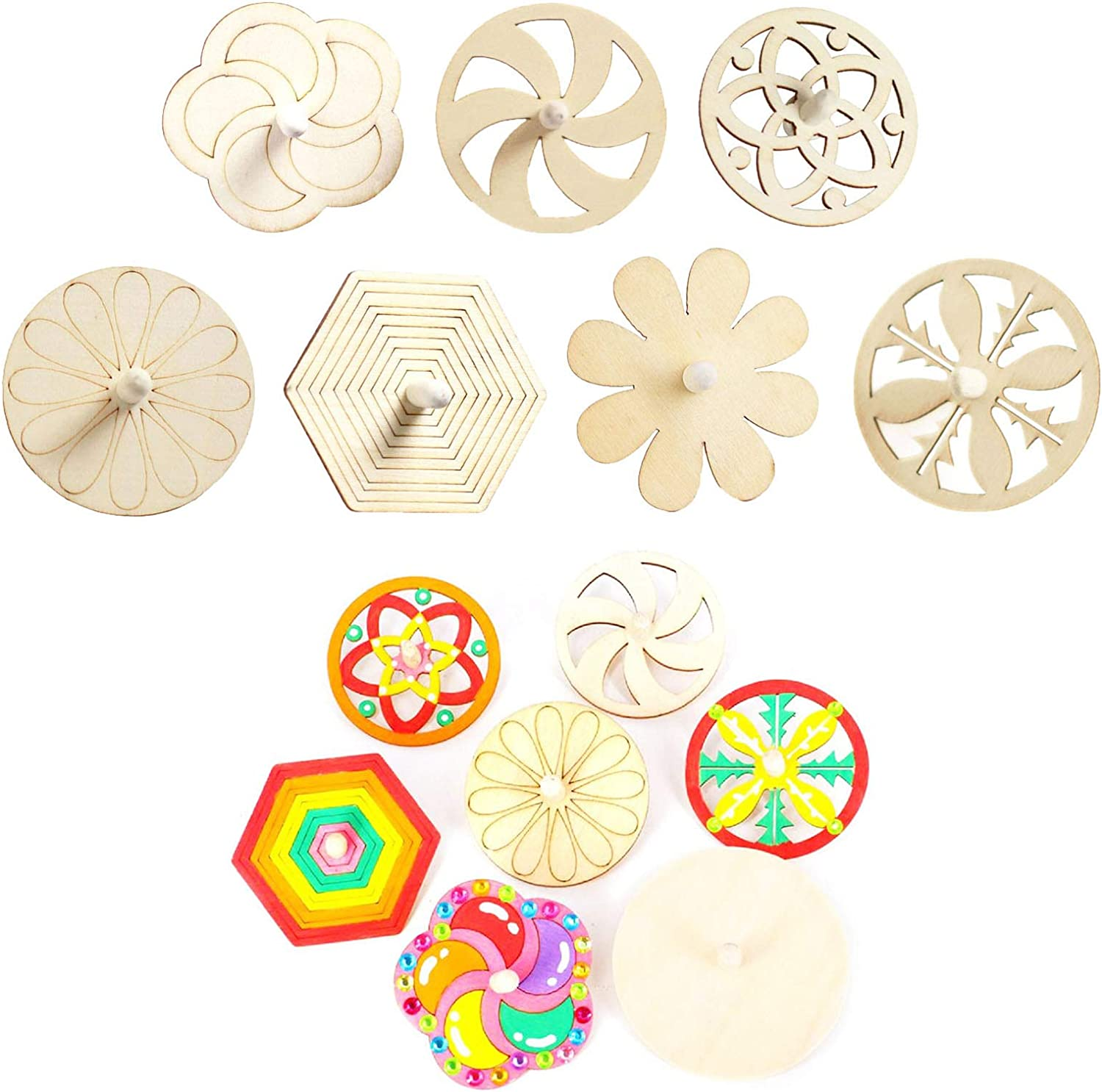 Handmade Small gyro Toy Gifts LiLiy 16 Pcs,DIY Creative Coloring Pattern Wooden top