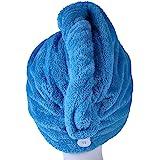 YYXR Microfiber Hair Drying Towel Ultra Absorbent Twist Hair Turban Drying Cap Hair Wrap (blue)