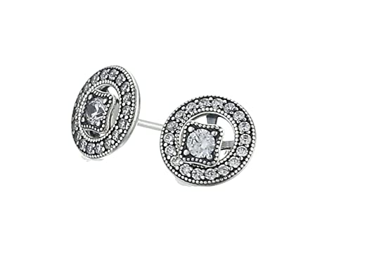 50a4cc4a7 Amazon.com: Pandora Women's Vintage Allure Stud Earrings - 290721CZ: Jewelry