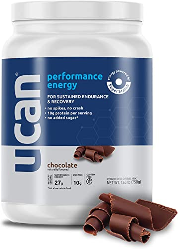 UCAN Performance Energy Protein Powder 26.5oz, 15 Servings – Whey Protein, Gluten Free, No Sugar Added Chocolate