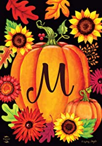 "Briarwood Lane Fall Pumpkin Monogram Letter M Garden Flag 12.5"" x 18"""